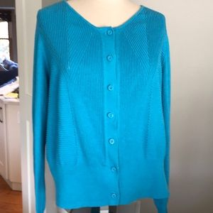 Cabi Turquoise cardigan button down  Large